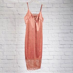 BLVD Velour Lace Sheath Slip Dress